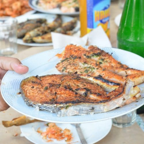 grilled salmon steak on plate with other fish dishes in background