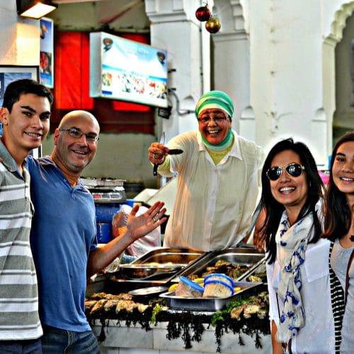 family on seafood market tour