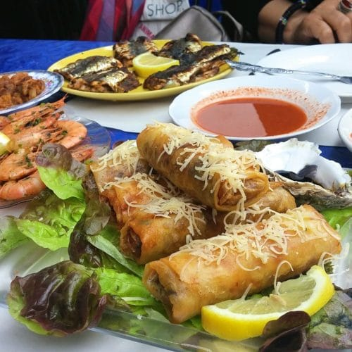 Part of our seafood meal at Casablanca's Central Market.