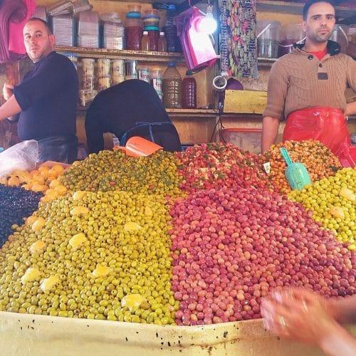 Olives for sale in a Casablanca market.