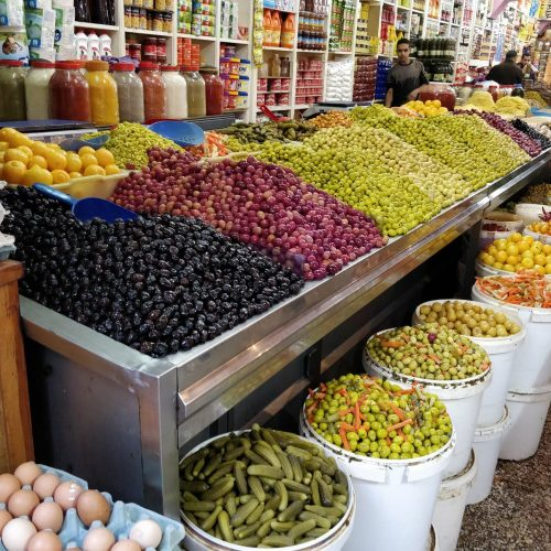 Olive market seen on a Moroccan food tour in Casablanca.