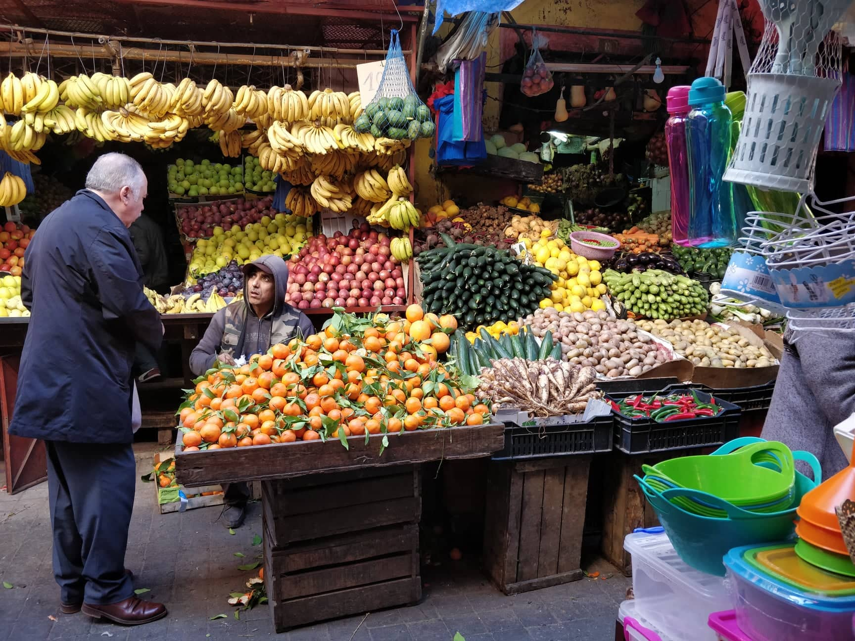 Fruits and veggies for sale in a Moroccan market.
